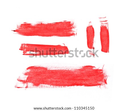 Bright red hand painted brush strokes