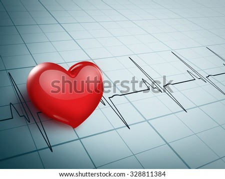 bright red heart on an electrocardiogram graph - stock photo