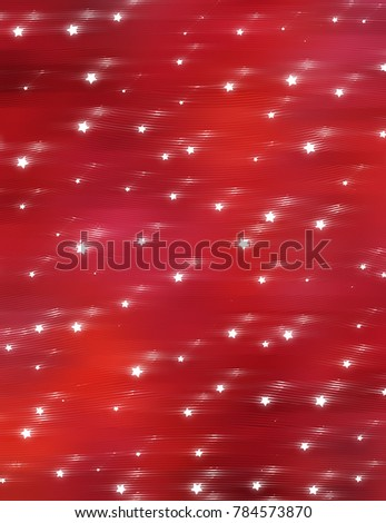 Bright red illustration with abstract shiny background with stars.