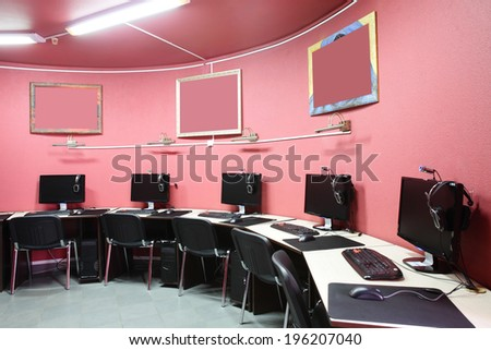 bright red interior of modern computer club