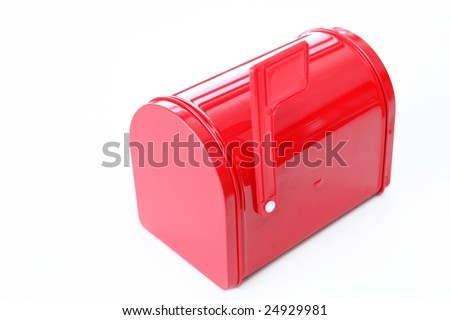 Bright red mail box with flag up and shot on a white background with copy space.