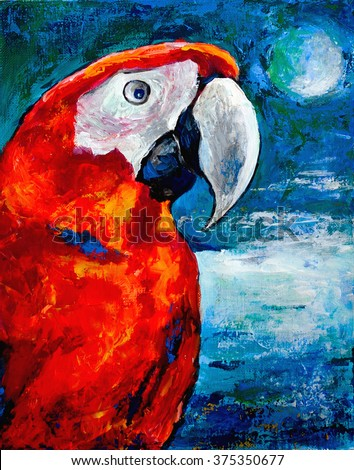 bright red parrot on the background of sea, sky and full moon tropical night
