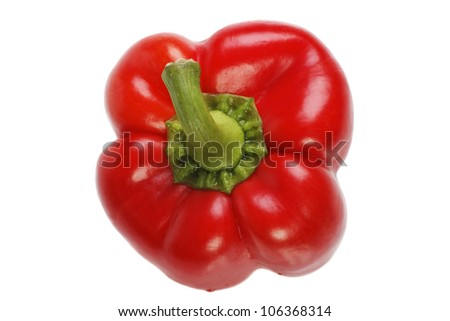 Bright red pepper. top view isolated on white.