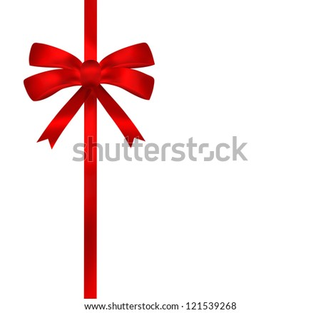 Bright red ribbon illustration on white background