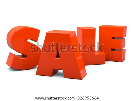 bright red SALE 3d text isolated on white background