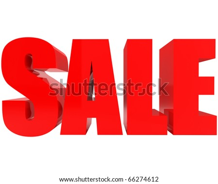 bright red SALE 3d-text isolated on white background - stock photo