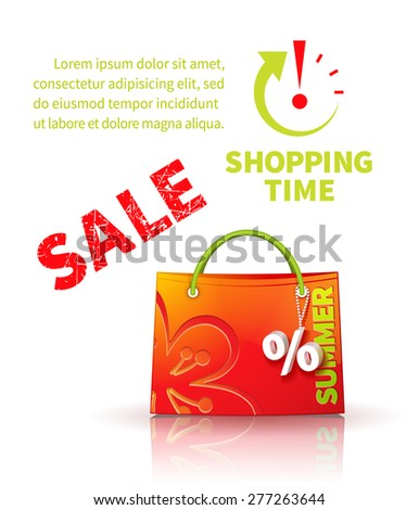 Bright red shopping bag with advertising seasonal summer sale and trinket in form of percent  and icon shopping time - stock photo