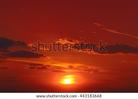 Bright red sunrise in the sky - stock photo
