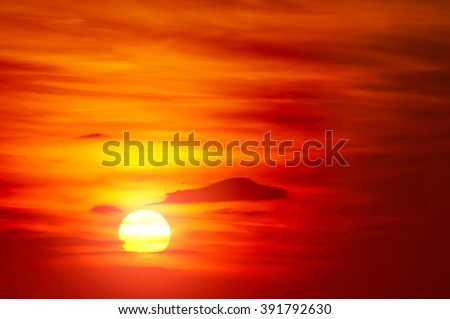 Bright red sunrise. Natural background. - stock photo
