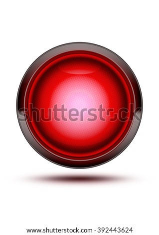 Bright Red traffic light symbol glowing while isolated on white. Green glass icon with wire texture inlay in the glass. Signaling that cars must stop at a traffic intersection.
