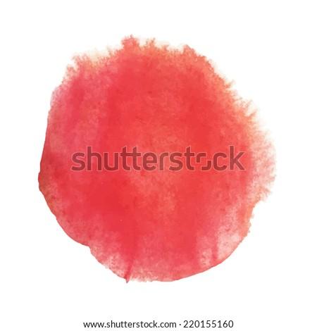 Bright red watercolor circle design - stock photo