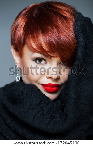 Bright redhead - stock photo