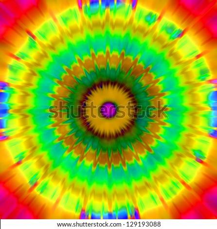 Bright retro style background - circular mandala, tie dye effect - stock photo