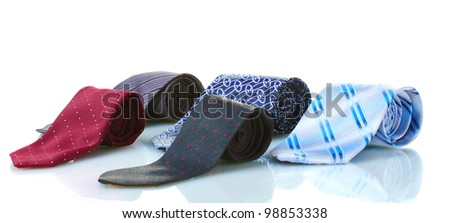bright rolled ties isolated on white