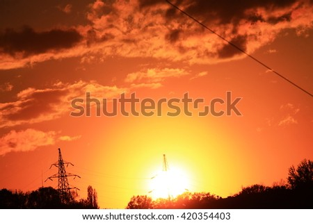 Bright russian sunset above mountain