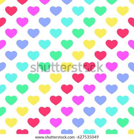 bright 80s style rainbow hearts background stock
