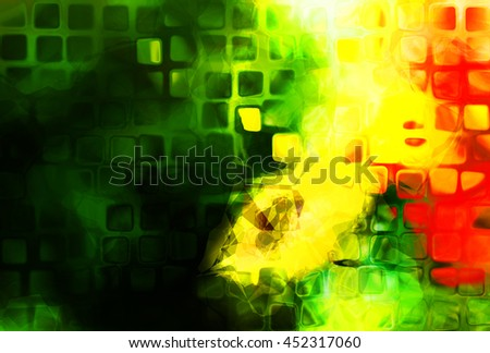 Bright, saturated digital illustration with abstract shapes and polygons - stock photo