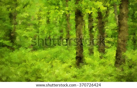 Bright scene of the vibrant green summer woods of the Poconos in Pennsylvania - transformed into a colorful abstract painting - stock photo