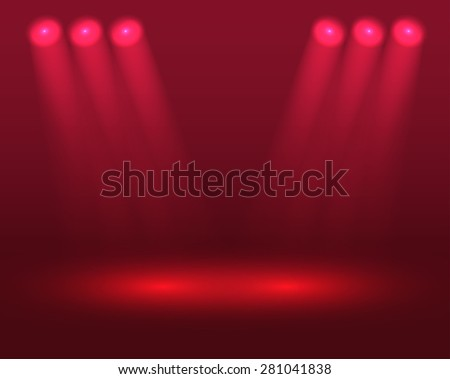 Bright scene with red projectors. Raster version - stock photo