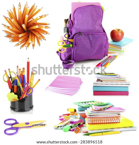 Bright school stationery, isolated on white - stock photo