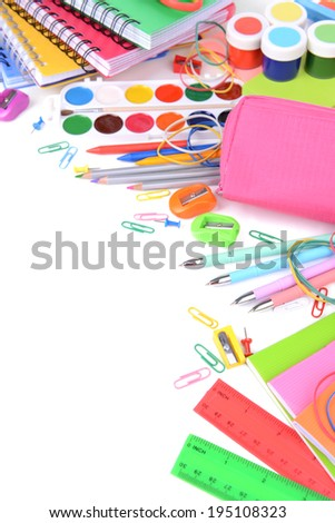 Bright school supplies close-up