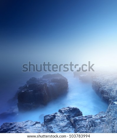 Bright sea bay during mist. Seascape and bright sky