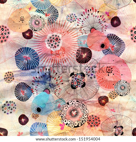 bright seamless abstract floral pattern on a creased paper background  - stock photo