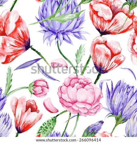 Bright seamless background with roses, peonies, poppies in purple and red colors fro wallpaper, textile and designs - stock photo