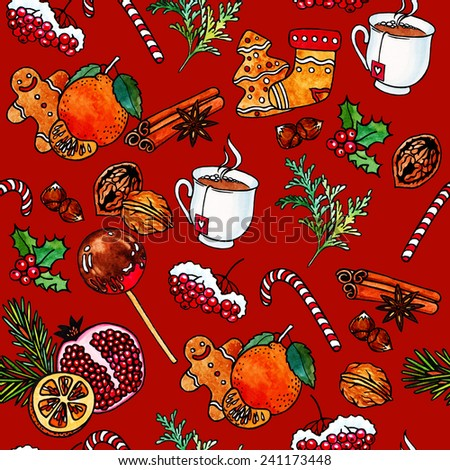 Bright seamless Christmas pattern. Tasty food. Hand drawing. Watercolour. - stock photo