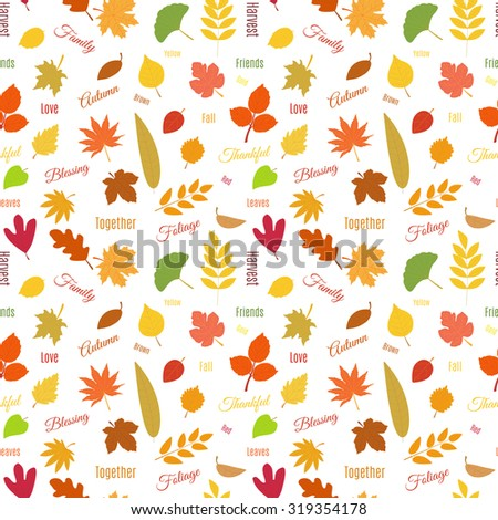 Bright seamless pattern design with colorful autumn leaves of different trees. Ecology concept. Raster version. - stock photo