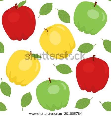 Bright seamless pattern with apples and leaves. Raster version. - stock photo