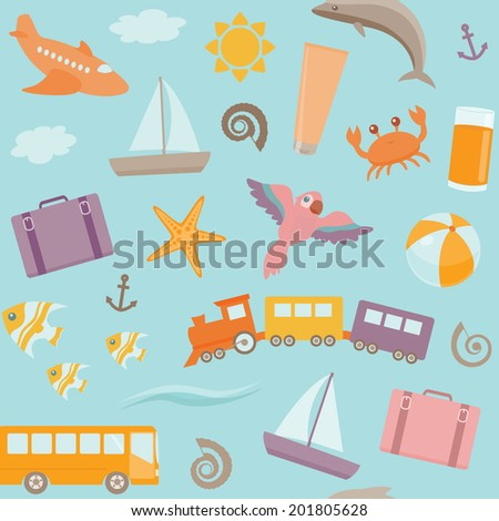 Bright seamless pattern with beach vacation symbols. Raster version. - stock photo