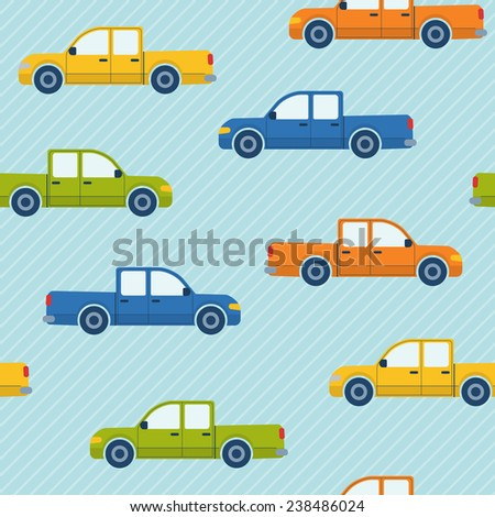 Bright seamless pattern with colorful pickup cars - stock photo