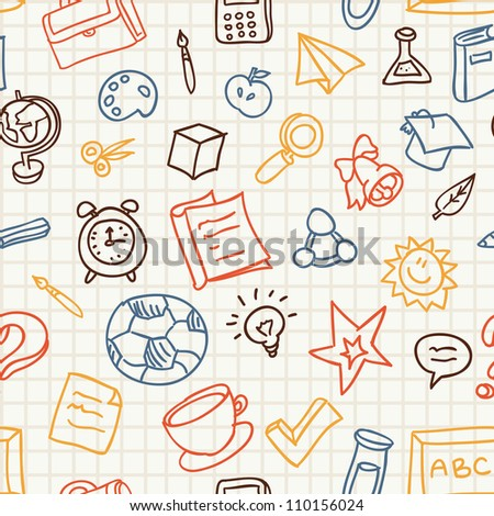 Bright seamless pattern with education and school icons