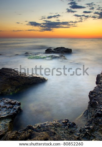 Bright seascape during sundown. Composition of the nature