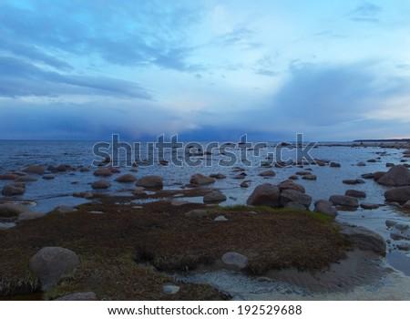 bright seascape in blue tones - stock photo