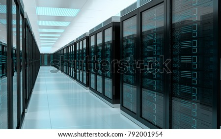 Bright server room data center storage interior 3D rendering