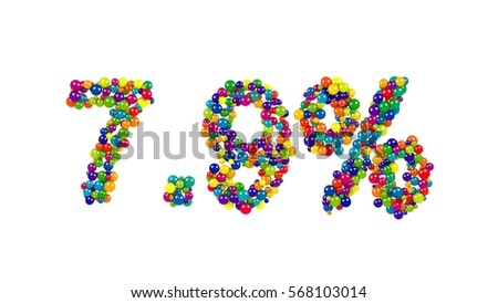 Bright seven point nine percent digits made of glossy colorful marbles isolated on white background