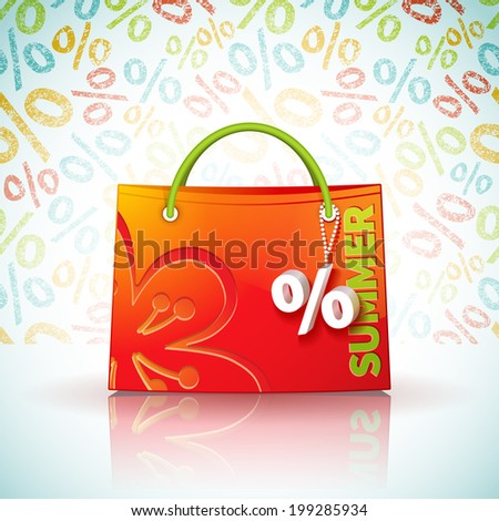 Bright shopping bag with advertising seasonal summer sale and fob as a sign of percent - stock photo