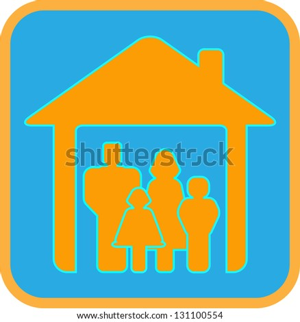 bright sign big worm family with house and family silhouette - stock photo