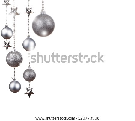 Bright silver Christmas tree balls with curly ribbons isolated on the white background - stock photo