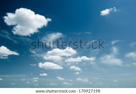 bright sky with clouds as background - stock photo