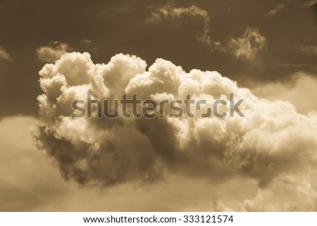 Bright sky with fluffy white clouds