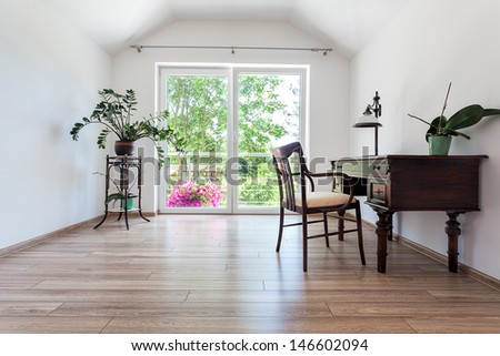 Bright space - a spacious and classy office area - stock photo
