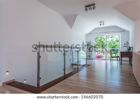 Bright space - the first floor of a modern apartment - stock photo
