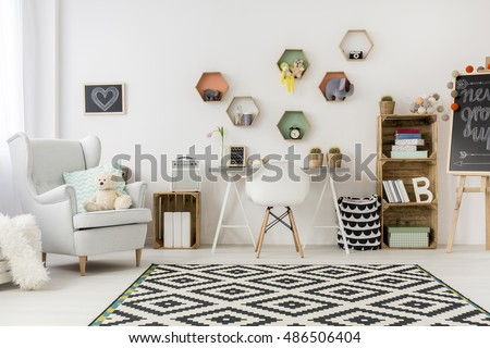 Bright, spacious and cute child room with areas to rest and work