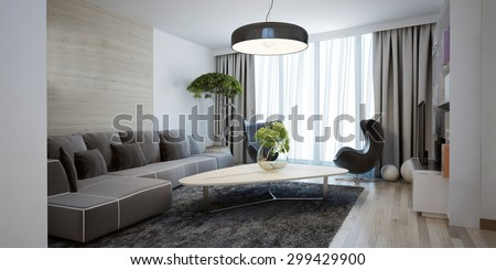 Bright spacious design of modern lounge. The minimalist interior is a beautiful spacious living room. Hidden cornices look beautiful with floor to ceiling windows. 3D render - stock photo