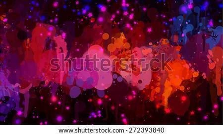 Bright sparkle brush strokes background. Raster version - stock photo