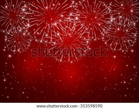 Bright sparkling fireworks on red shiny background, illustration. - stock photo