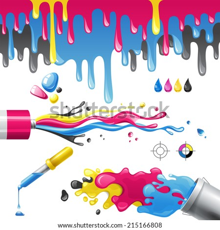 Bright splashes in CMYK colors - stock photo